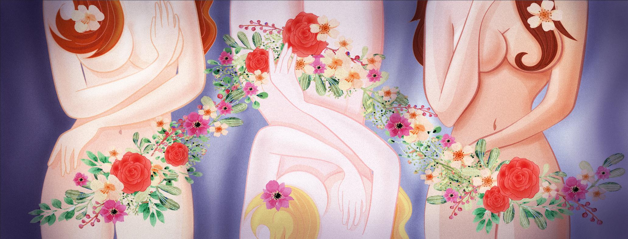 Gyönyörű nők virágokkal